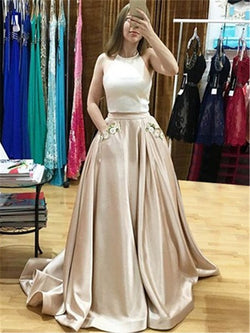 A-Line Appliques Halter Sleeveless Prom Dress