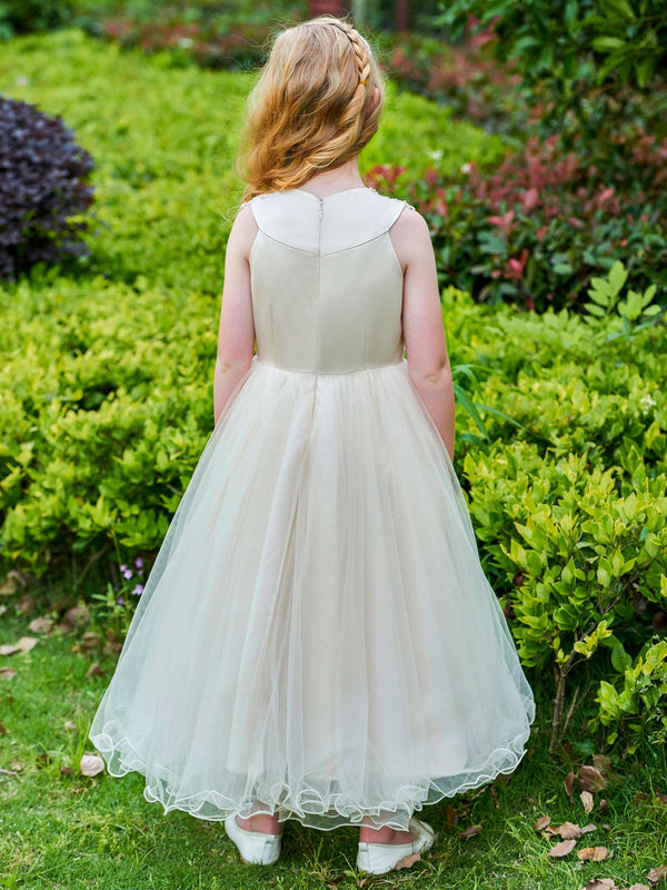 Beading Sleeveless Jewel Ball Gown Flower Girl Dress