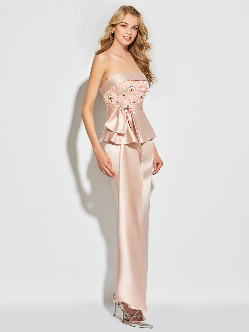 Strapless Sheath/Column Bowknot Ankle-Length Cocktail Dress