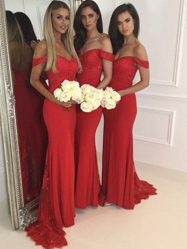 Off-The-Shoulder Sweep/Brush Appliques Floor-Length Wedding Party Dress