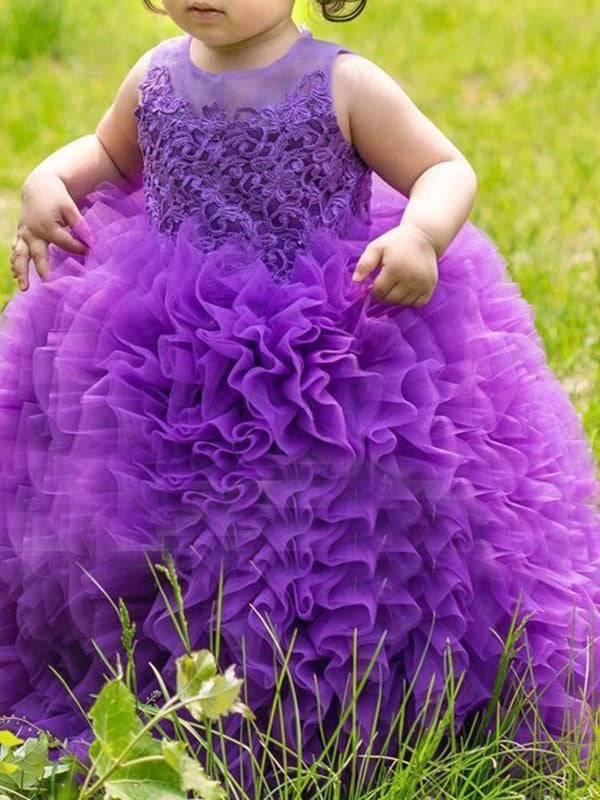 Sleeveless Scoop Ball Gown Floor-Length Flower Girl Dress