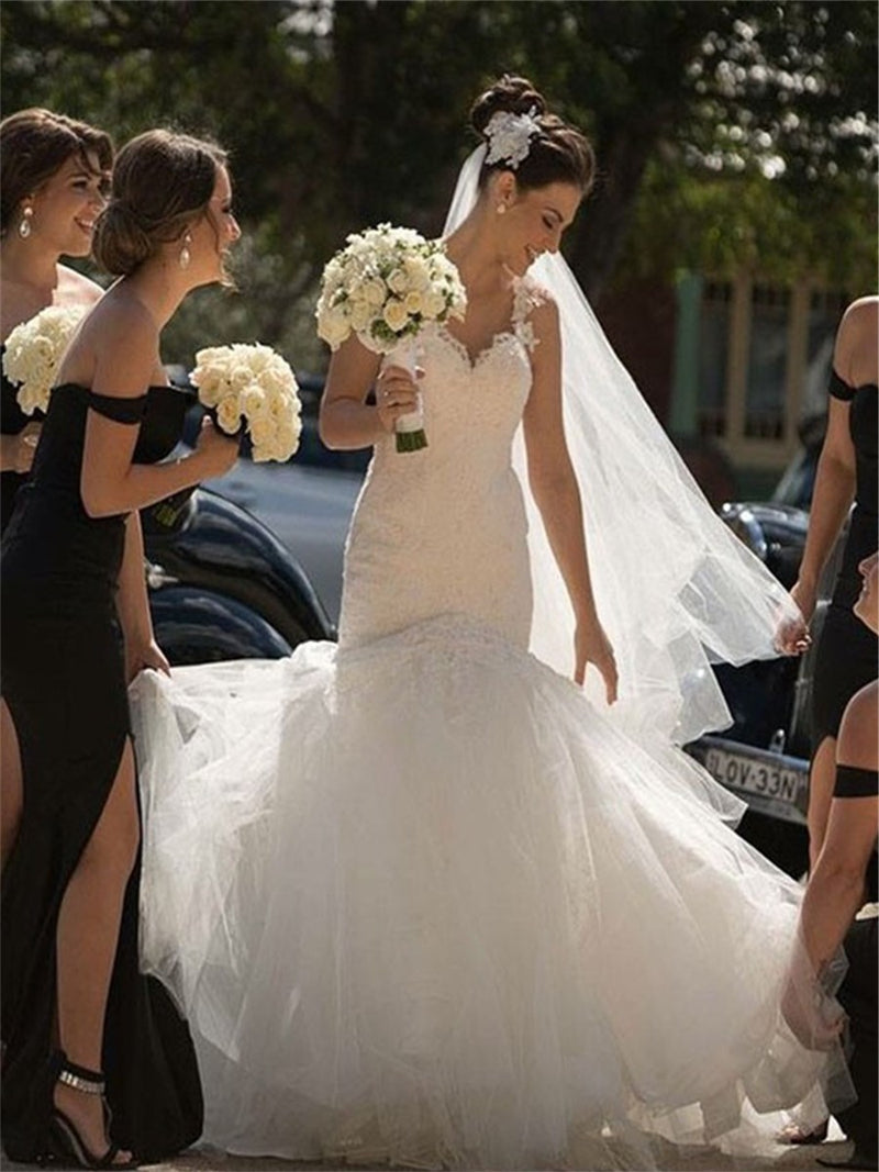 Sleeveless Appliques Floor-Length Sweep/Brush Church Wedding Dress