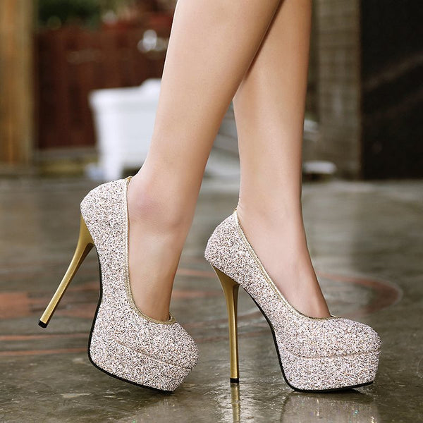 Round Toe Stiletto Heel Sequin Slip-On Low-Cut Upper Banquet Thin Shoes