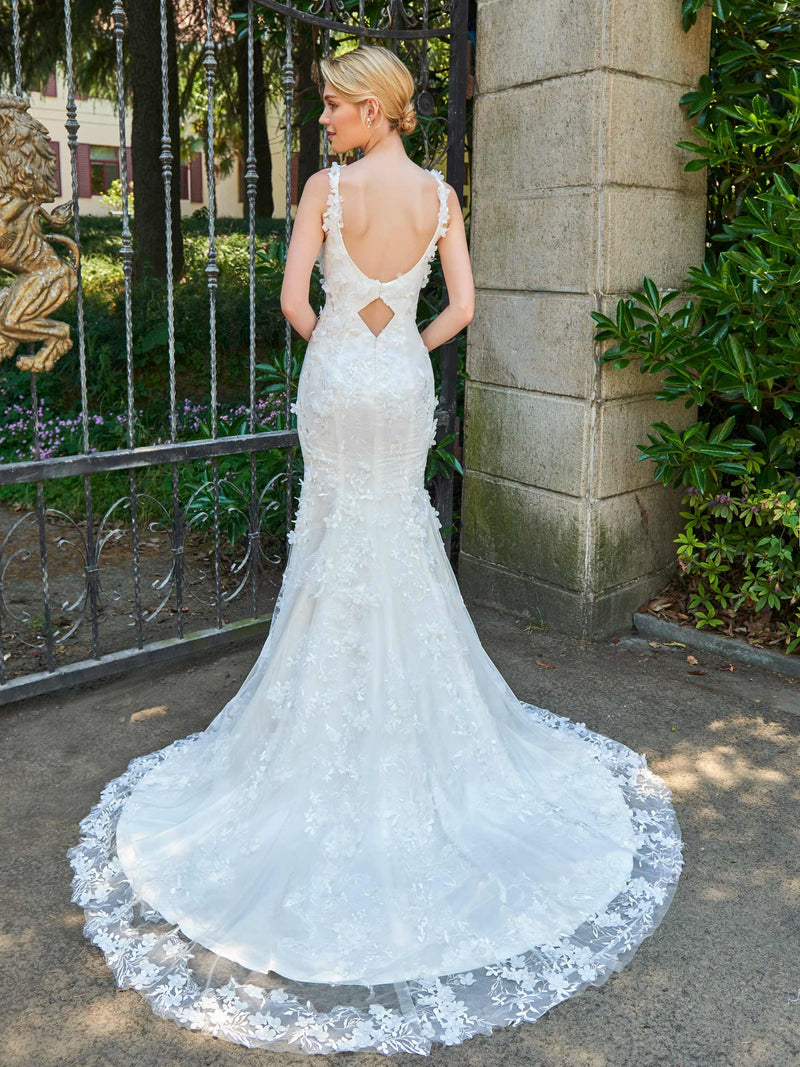 Spaghetti Straps Trumpet/Mermaid Sleeveless Floor-Length Hall Wedding Dress