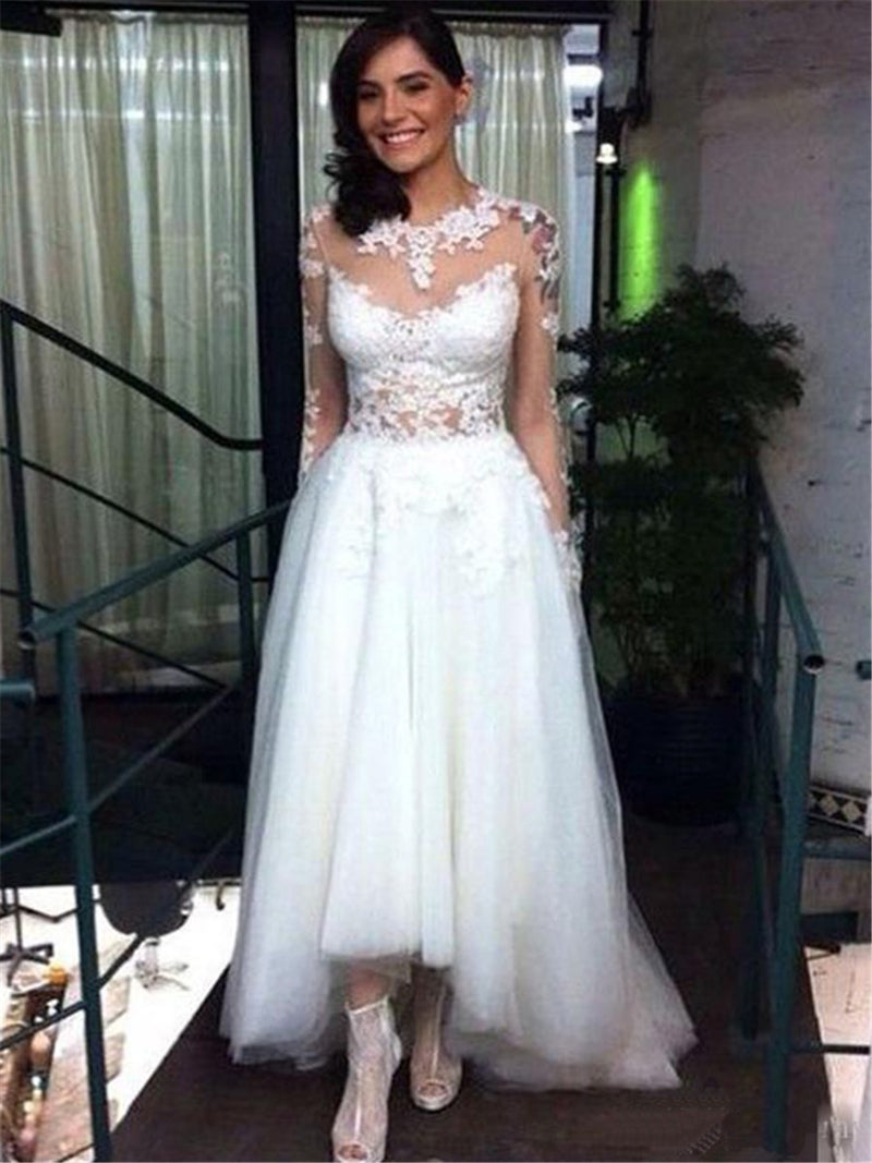 Jewel A-Line Appliques Long Sleeves Hall Wedding Dress