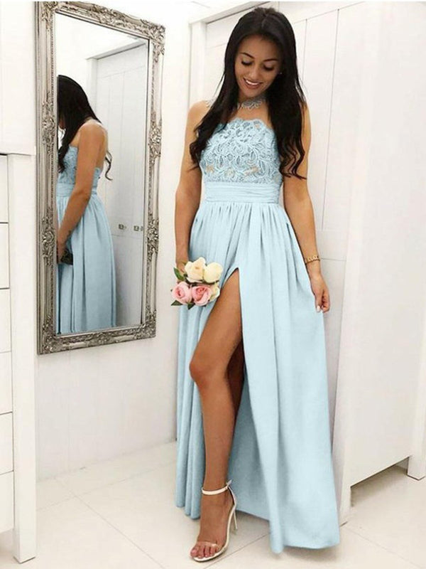 A-Line Sleeveless Appliques Floor-Length Wedding Party Dress