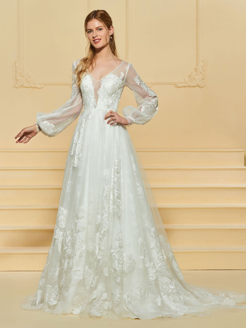 V-Neck A-Line Floor-Length Button Garden/Outdoor Wedding Dress
