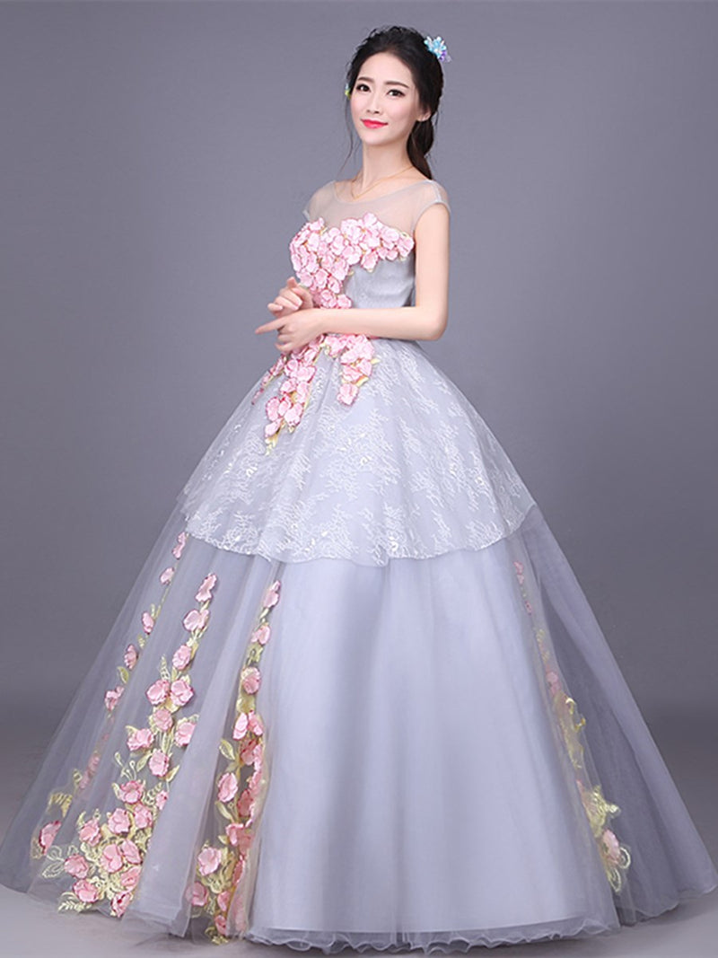 Lace Ball Gown Cap Sleeves Floor-Length Quinceanera Dress