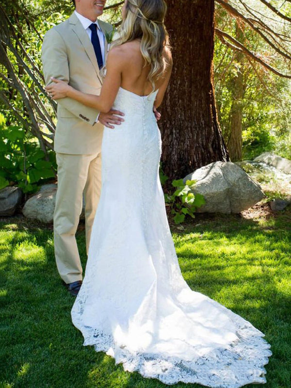 Floor-Length Sweetheart Lace Trumpet/Mermaid Church Wedding Dress