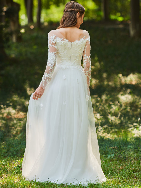 Scoop A-Line Lace Floor-Length Hall Wedding Dress