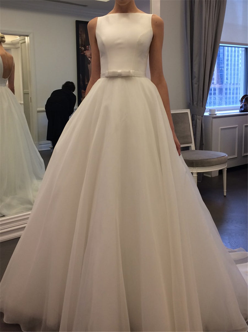 Bowknot Floor-Length A-Line Sleeveless Hall Wedding Dress