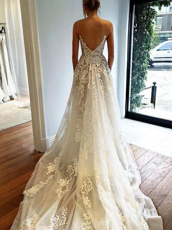 Chapel Appliques A-Line Sleeveless Hall Wedding Dress