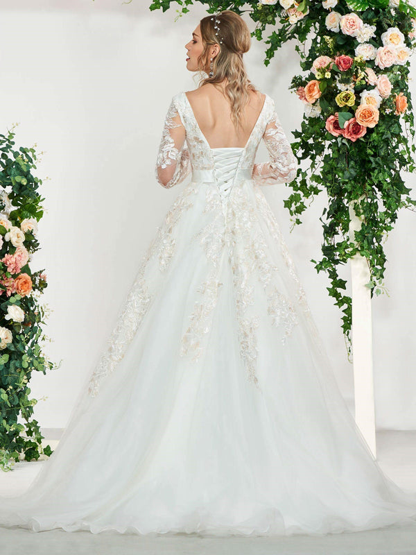 Sweep/Brush Floor-Length Square Appliques Church Wedding Dress