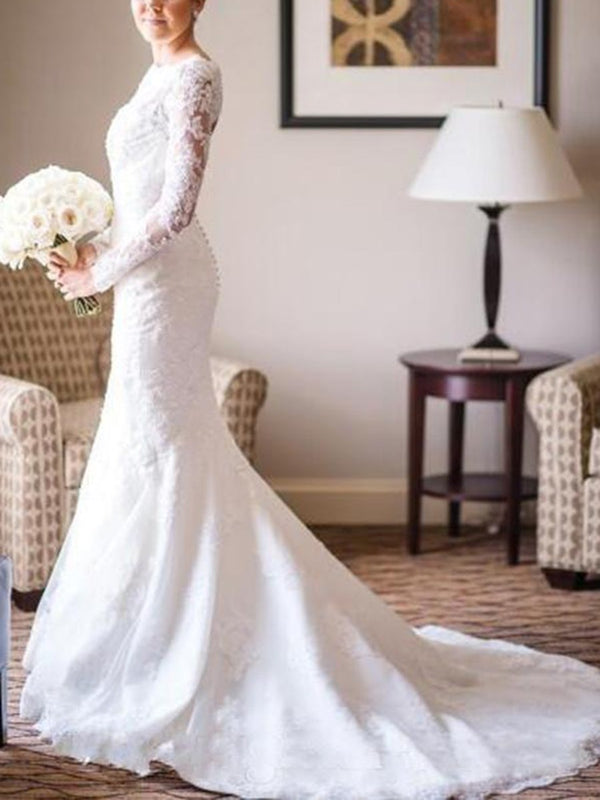 Bateau Trumpet/Mermaid Court Long Sleeves Church Wedding Dress