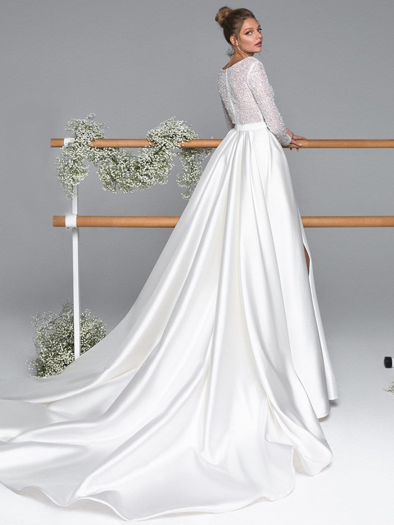 V-Neck Floor-Length A-Line Long Sleeves Hall Wedding Dress