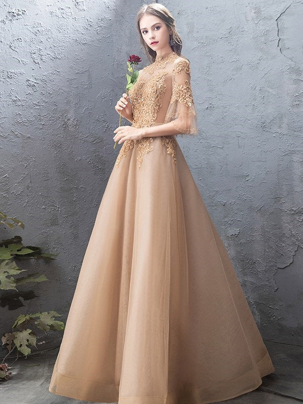 A-Line Appliques Floor-Length 3/4 Length Sleeves Evening Dress
