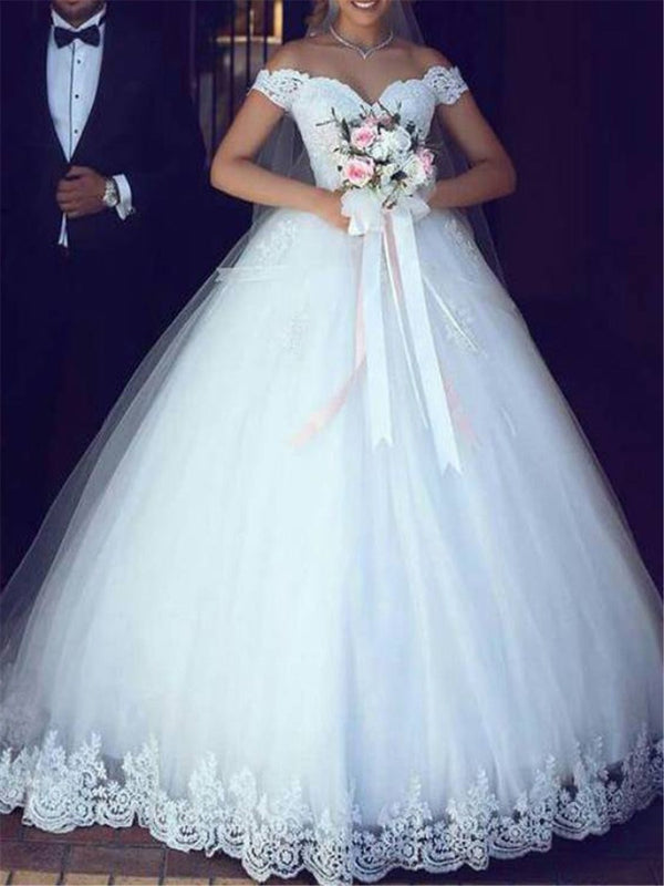 Cap Sleeves Off-The-Shoulder Ball Gown Floor-Length Church Wedding Dress