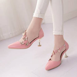 Slip-On Spool Heel Appliques Pointed Toe 6.5cm Casual Thin Shoes