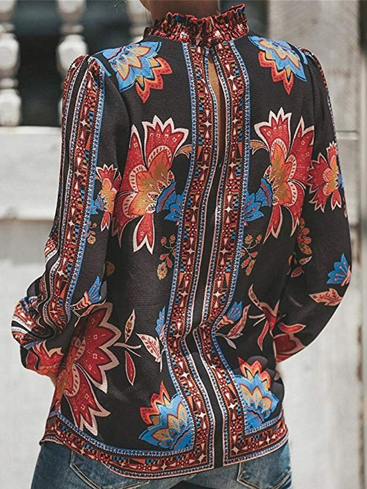 Print Stand Collar Floral Standard Long Sleeve Blouse