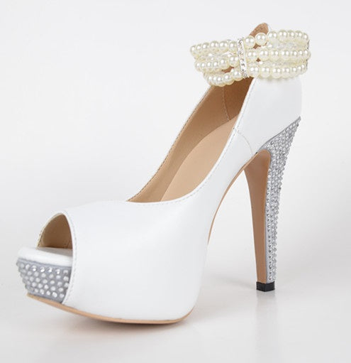 Peep Toe Stiletto Heel Beads Slip-On Professional 12cm Thin Shoes