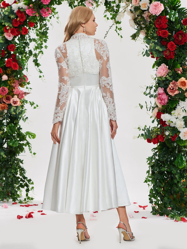 Lace Long Sleeves A-Line Ankle-Length Church Wedding Dress