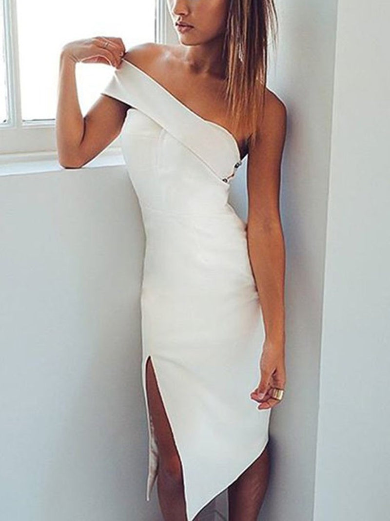 Sleeveless Split-Front Sheath/Column Tea-Length Wedding Party Dress