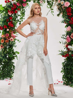 Ankle-Length Appliques Chapel A-Line Beach Wedding Dress