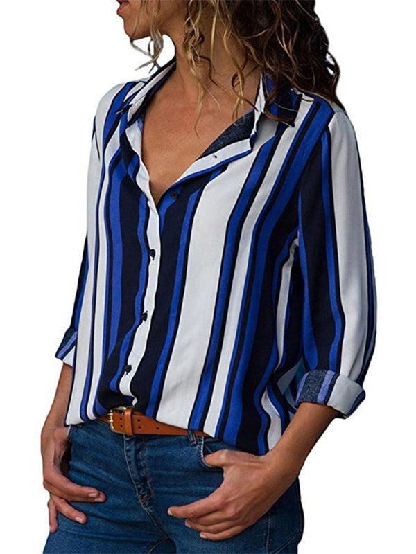 Stripe Regular Mid-Length Long Sleeve Blouse