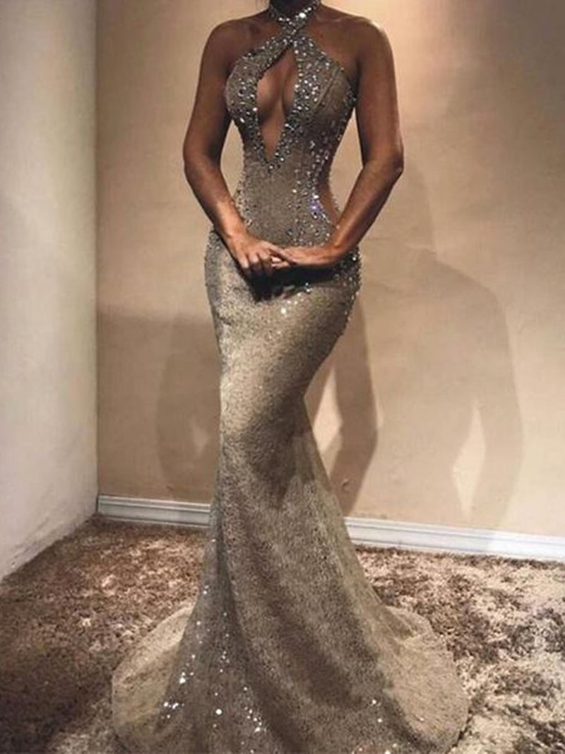 Floor-Length Trumpet/Mermaid Halter Sleeveless Evening Dress