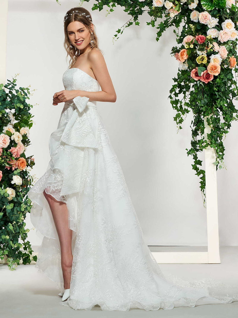 Floor-Length Sleeveless Lace A-Line Church Wedding Dress