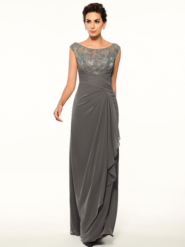 Sheath/Column Floor-Length Sleeveless Scoop Formal Dress