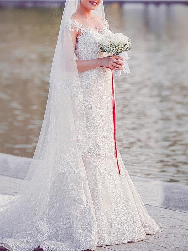 Court Trumpet/Mermaid Cap Sleeves Floor-Length Hall Wedding Dress