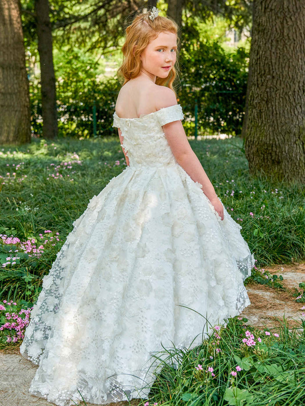 Ball Gown Summer Sweep/Brush Off-The-Shoulder Flower Girl Dress