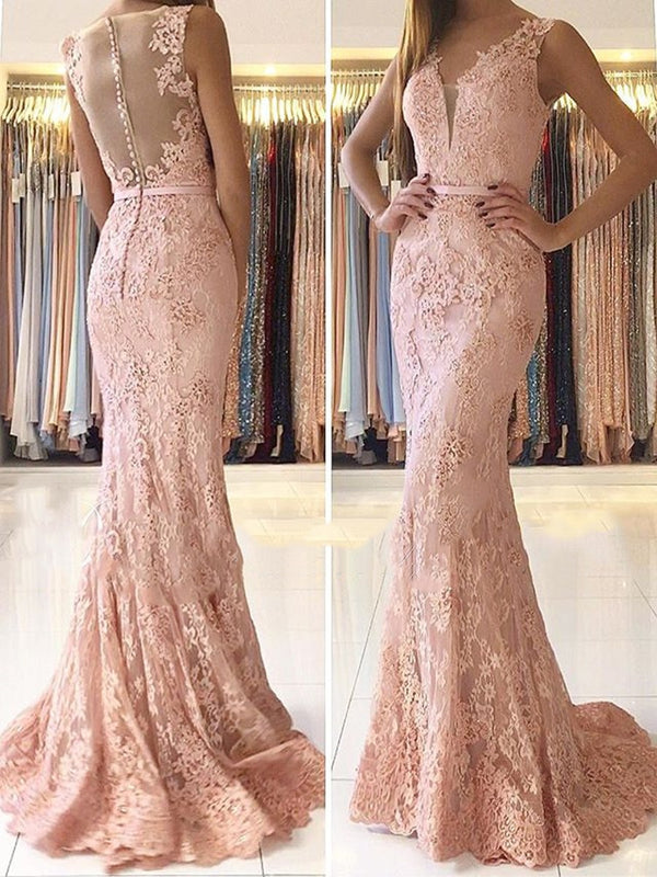 Floor-Length V-Neck Sweep/Brush Trumpet/Mermaid Evening Dress