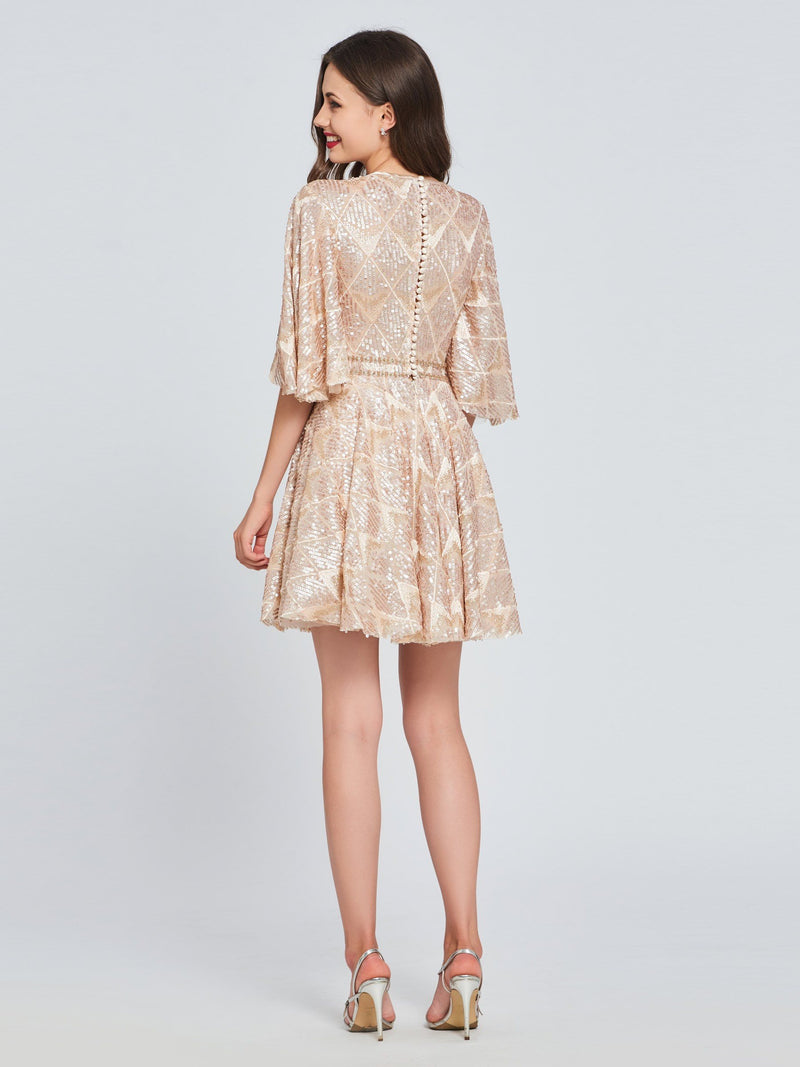 A-Line Half Sleeves Sequins Short/Mini Homecoming Dress