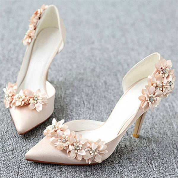 Pointed Toe Stiletto Heel Slip-On 3D Low-Cut Upper Wedding Thin Shoes