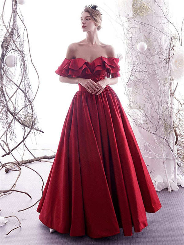 Ruffles Off-The-Shoulder A-Line Floor-Length Evening Dress