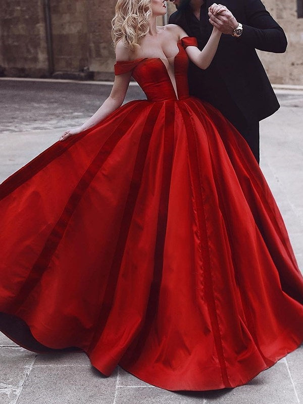 Off-The-Shoulder Ball Gown Floor-Length Evening Dress