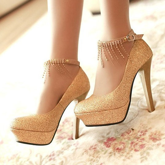 Line-Style Buckle Chain Round Toe 12cm Western Thin Shoes