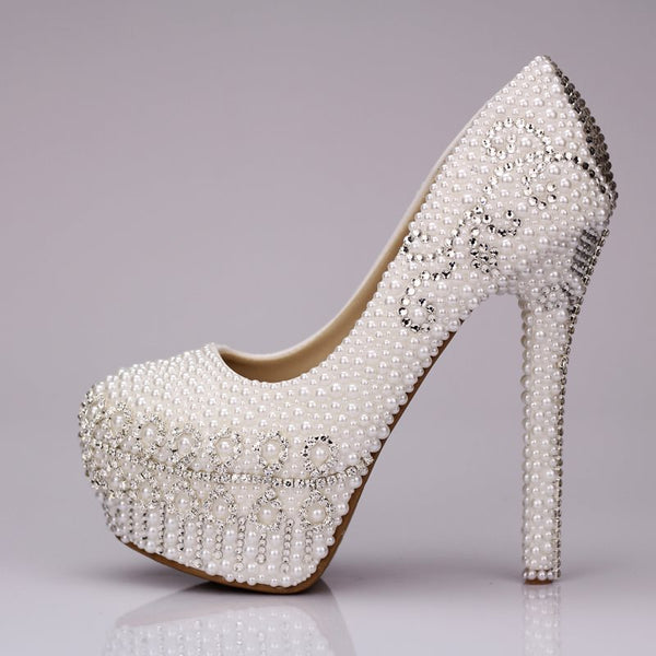 Rhinestone Slip-On Round Toe Stiletto Heel Plain 14cm Thin Shoes