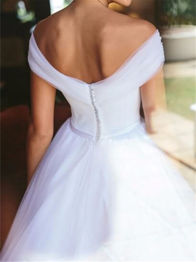 Off-The-Shoulder A-Line Floor-Length Button Hall Wedding Dress