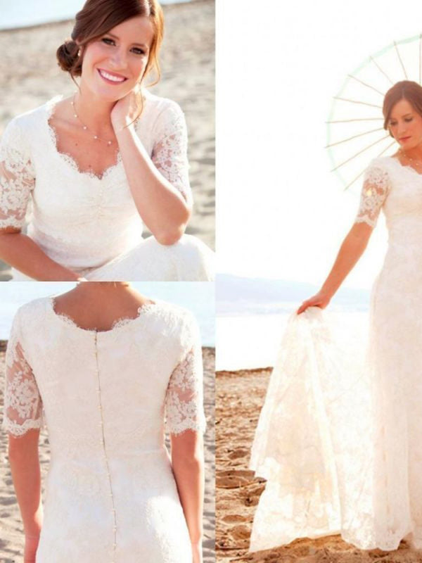 Short Sleeves Sheath/Column Court Floor-Length Church Wedding Dress