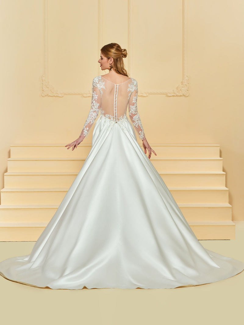 Court Floor-Length Button A-Line Church Wedding Dress