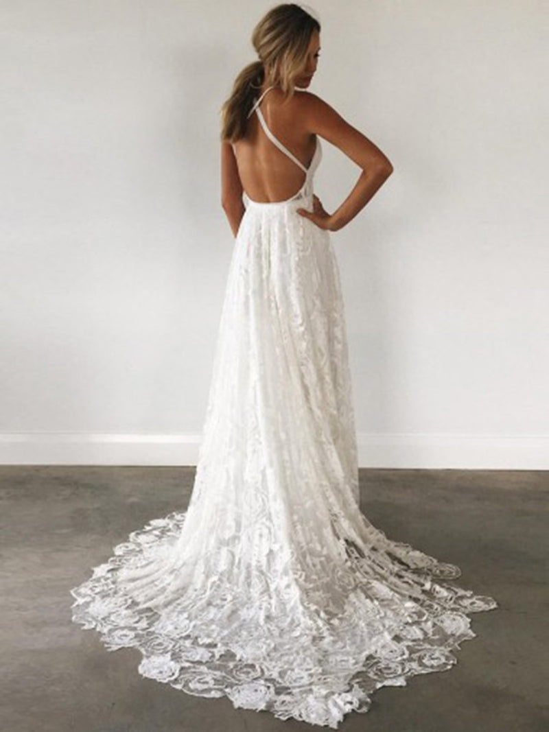 A-Line Sleeveless Lace Spaghetti Straps Garden/Outdoor Wedding Dress