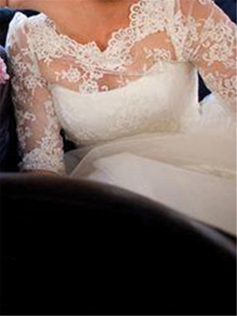 Half Sleeves Appliques Floor-Length A-Line Hall Wedding Dress