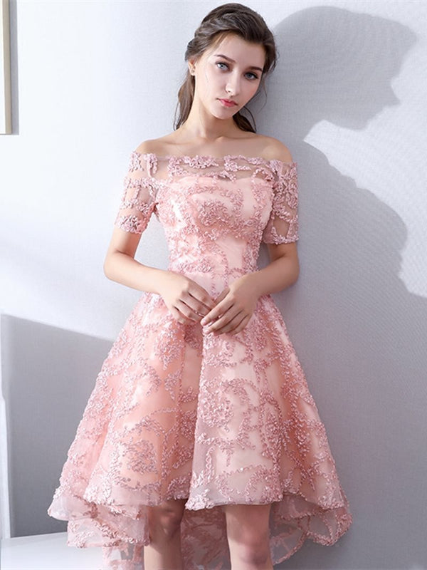 A-Line Lace Short Sleeves Off-The-Shoulder Homecoming Dress