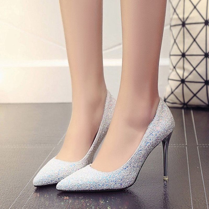 Pointed Toe Slip-On Stiletto Heel Low-Cut Upper Plain Thin Shoes