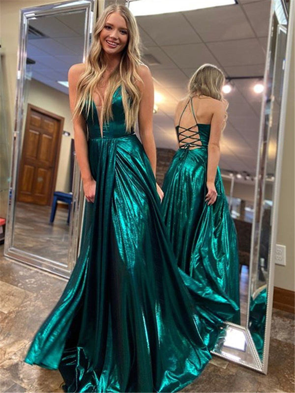 A-Line Halter Floor-Length Formal Dress