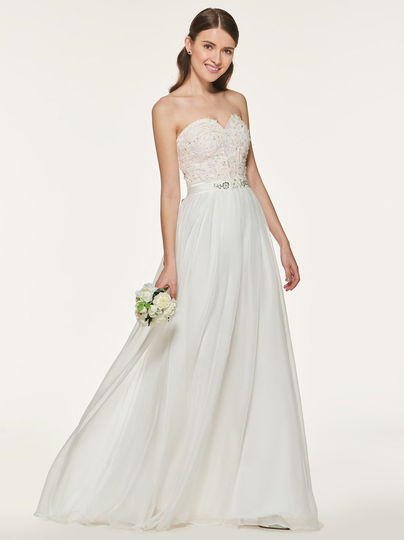 Beading Floor-Length A-Line Sweetheart Wedding Party Dress