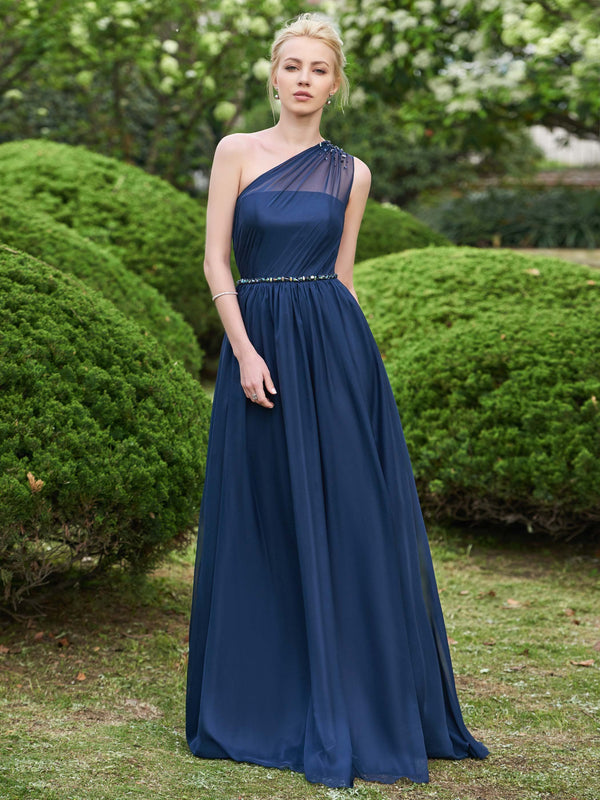 Crystal Floor-Length One Shoulder Sweep/Brush Wedding Party Dress